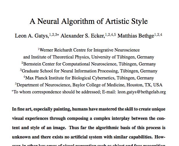 Neural Art